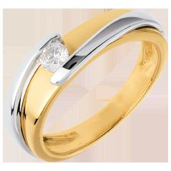 Solitario Nido Prezioso - Bipolare - oro giallo ed oro bianco - 0.17 carati - 18 carati