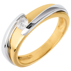 Solitario Nido Precioso - Bipolar- oro  blanco - diamante 0.17quilates - 18 quilates
