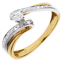 Solitaire Nid Précieux - Système solaire - or jaune et or blanc - diamant 0.08 carat - 18 carats