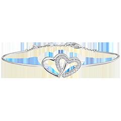 Brazalete Junco Precioso Secreto - Corazones Enamorados - oro blanco de 9 quilates y diamantes