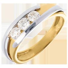 Trilogy Precious Nest - Interlocking - white gold and yellow gold - 0.54 carat - 3 diamonds - 18 carats