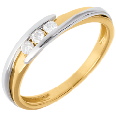 Trilogía Nido Precioso - Bipolar - oro amarillo y oro blanco - 3 diamantes - 0.11 quilates - 18 quilates