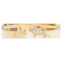 Bracelet Jonc Ouvert Fraîcheur - Toi et Moi La Bonne Étoile - or jaune 9 carats et diamants