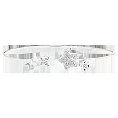 Bracelet Jonc Ouvert Fraîcheur - Toi et Moi La Bonne Étoile - or blanc 18 carats et diamants