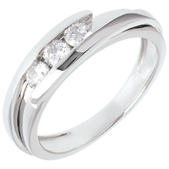 Trilogy Nido Prezioso - Bipolare - oro bianco - 0.38 carato - 3 diamanti - 18 carati