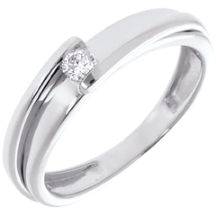 Solitario Nido Precioso - Bipolar- oro  blanco - diamante 0.08 quilates - 18 quilates