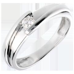 Solitario Nido Prezioso - Puro Amore - oro bianco - diamante 0.13 carato - 18 carati