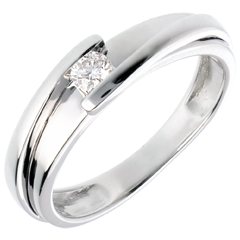 Solitario Nido Precioso - Bipolar - oro blanco - diamante 0.13 quilates - 18 quilates