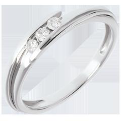 Trilogie Nid Précieux - Bipolaire - or blanc - 3 diamants - 0.11 carat - 18 carats