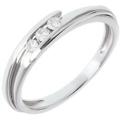 Trilogía Nido Precioso - Bipolar - oro blanco - 3 diamantes - 0.11 quilates - 18 quilates
