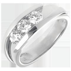 Trilogie Nid Précieux - Bipolaire (très grand modèle)  - or blanc - 0.77 carat - 3 diamants - 18 carats