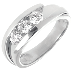 Trilogía Nido Precioso - Bipolar  modelo muy grande  -oro blanco - 0.77 quilates - 3 diamantes - 18 quilates