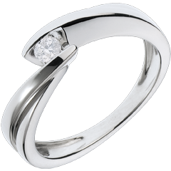 Solitario Nido Prezioso - Ondina - oro bianco - 1 diamante:  0.11 carato - 18 carati