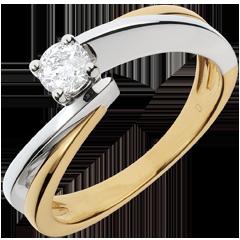 Solitario Nido Precioso - Filamento- oro amarillo y blanco - diamante 0.26 quilates - 18 quilates