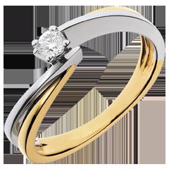 Solitario Nido Precioso - Filamento- oro  amarillo y blanco - diamante 0.13 quilates - 18 quilates