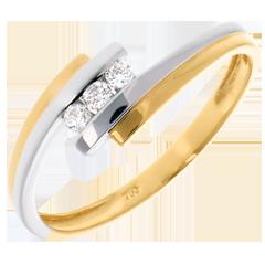 Trilogie Nid Précieux - Double Jonc - or blanc et or jaune - 18 carats