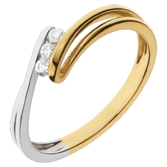 Anillo trilogía Nido Precioso-  Escarcha -  oro amarillo y blanco-3 diamamantes- 18 quilates.