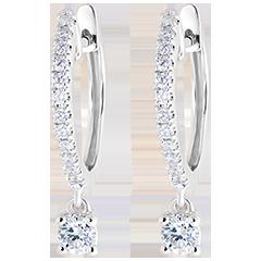 Boucles d'oreilles Créoles semi-pavées Fraîcheur - Petite Pampille - or blanc 9 carats et diamants