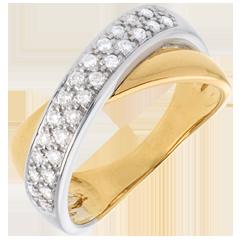 Bague tandem semi pavée  - 0.26 carats - 26 diamants