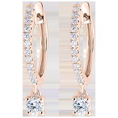 Boucles d'oreilles Créoles semi-pavées Fraîcheur - Petite Pampille - or rose 18 carats et diamants