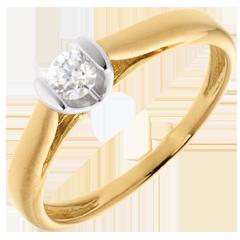 Solitaire caldera or jaune-or blanc  - diamant 0.19 carat