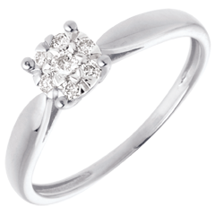 Anillo caña oro blanco esfera empedrado - 7 diamantes