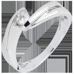 Anello Solitario Nido Prezioso - Monte Diamante - oro bianco - 18 carati