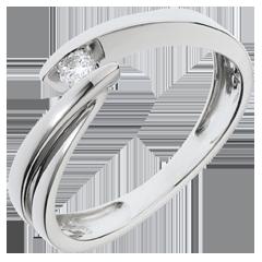Solitario Nido Prezioso - Ondine - oro bianco - 1 diamante:  0.07 carato - 18 carati