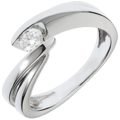 Solitario Brillo Eterno - Ondina - oro blanco - 1 diamante: 0.21 quilates - 18 quilates