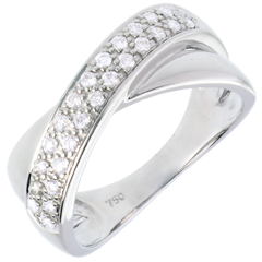 Bague tandem or blanc semi pavée  - 0.26 carats - 26 diamants