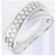Anillo tandem oro blanco semi empedrado  - 0.26 quilates - 26 diamantes