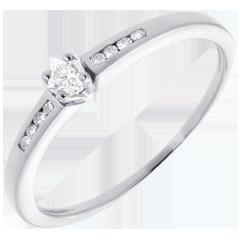 Solitario Ottava oro bianco  - 9 diamanti