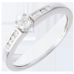 Solitaire Octave or blanc  - diamant 0.13 carat
