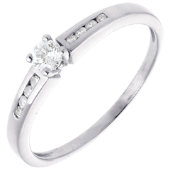 Solitaire Octave or blanc  - diamant 0.16 carat