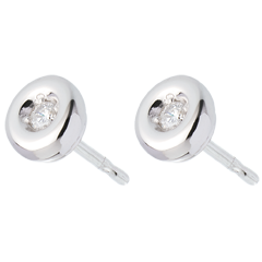 Boucles d'oreilles Calice diamants - puce or blanc
