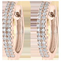 Boucles d'oreilles Créoles semi-pavées Fraîcheur - Céleste - or rose 9 carats et diamants