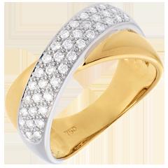 Bague tandem semi pavée    - 0.4 carats - 40 diamants