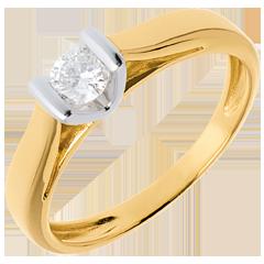 Solitaire caldera or blanc-or jaune   - 0.25 carats