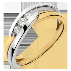 Anillo trilogía Brillo Eterno - Serenata - oro amarillo y oro blanco - 3 diamantes - 18 quilates
