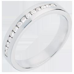Fede nuziale oro bianco semi pavé - incastonatura Binario  - 0.21 carati - 14 diamanti