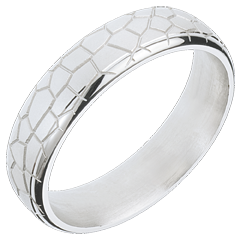 Wedding Ring Imaginary Walk - Golden Scales - White Gold
