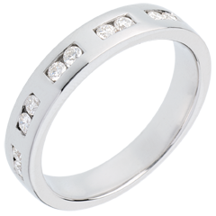 Fede nuziale oro bianco semi pavé - incastonatura Binario - 0.22 carati - 10 diamanti