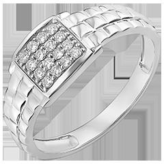 Bague Clair Obscur - Chevalière Mailles - or blanc 9 carats et diamants