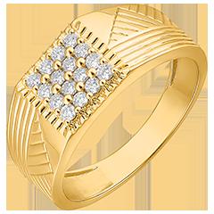 Pierścionek Światłocień - Sygnet grawerowany - 9 karatowe żółte złoto i diamenty