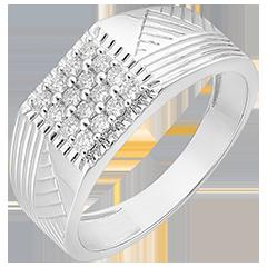 Bague Clair Obscur - Chevalière Gravures - or blanc 9 carats et diamants