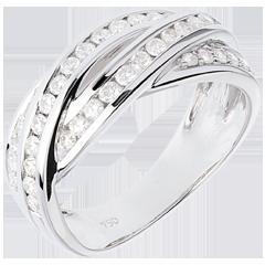 Anello di Fidanzamento Destino - Intreccio oro bianco - 0.63 carati - 38 diamanti - 18 carati