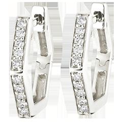 Boucles d'oreilles créoles Fraîcheur - Hexagonia - or blanc 9 carats et diamants