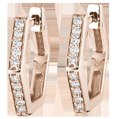 Boucles d'oreilles créoles Fraîcheur - Hexagonia - or rose 9 carats et diamants