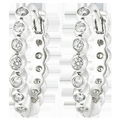 Boucles d'oreilles créoles Fleur de Sel - Écume Précieuse - or blanc 9 carats et diamants