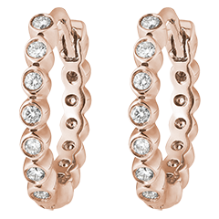 Boucles d'oreilles créoles Fleur de Sel - Écume Précieuse - or rose 9 carats et diamants